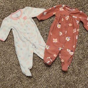 Carters Baby Girl Fleece Sleeper Bundle 0-3